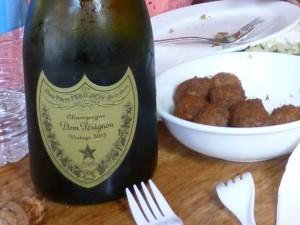 dom perignon 2003 vintage & falafel