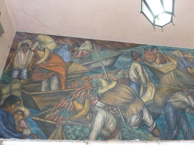 mexcian market mural carrots in boats