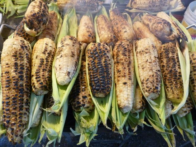 mexican market cooked corn
