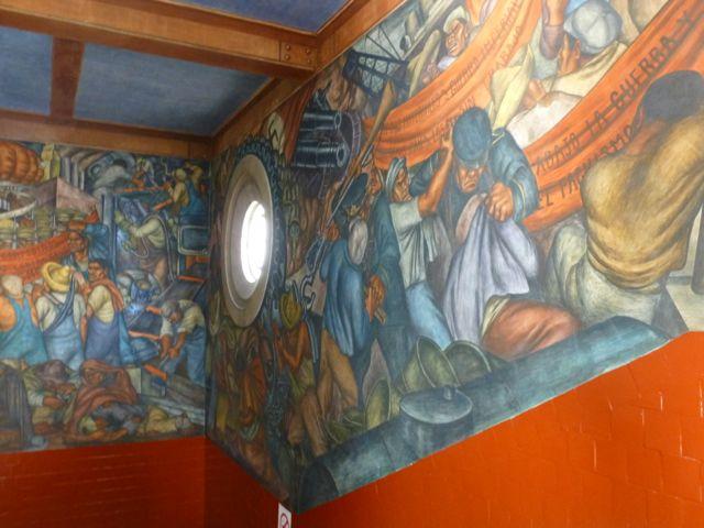 mexican market mural abajo la guerra