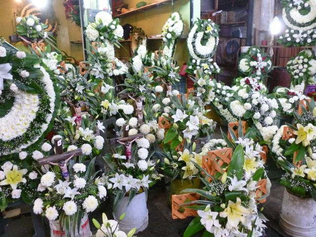 mexican market white funeral flowers