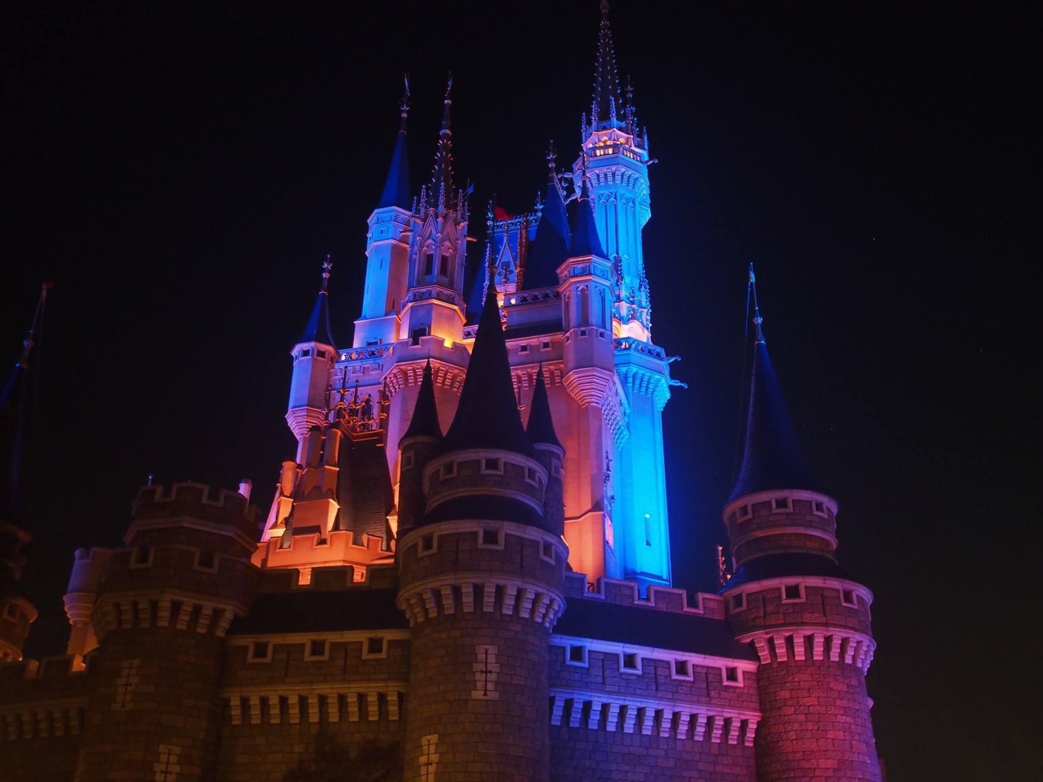 disneyland castle at night tokyo