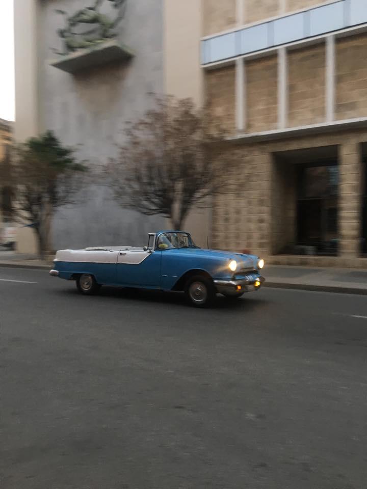 old havana cuba blue car